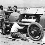 Back in Pendine, 1925. Leo Villa is behind the Sunbeam. A world record of 150.76 miles per hour was set on July 21, 1925
