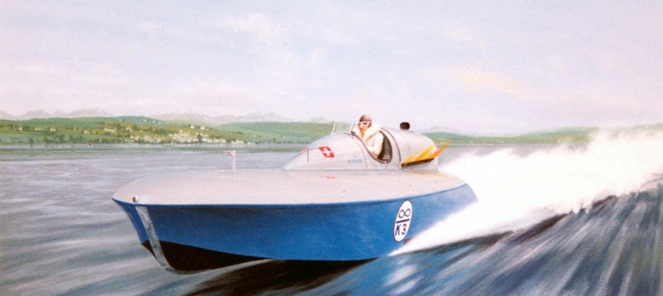 K3 at Halwyl, by Arthur Benjamins. Enamel on canvas. 1991