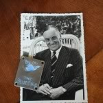 Sir Malcolm Campbell with Bluebird badge